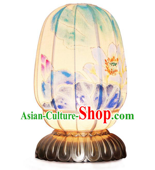 Handmade Traditional Chinese Lantern Painting Lotus Desk Lamp Palace Lantern