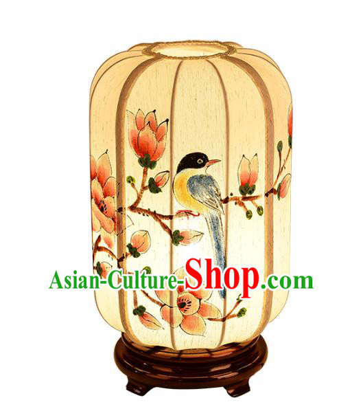 Handmade Traditional Chinese Lantern Hand Painting Flowers Bird Desk Lamp Palace Lantern