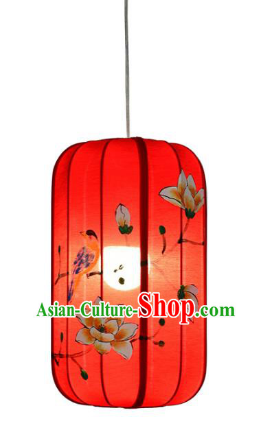 Traditional Chinese Ancient Palace Lantern Red Ceiling Lamp Hand Painting Magnolia Lanern