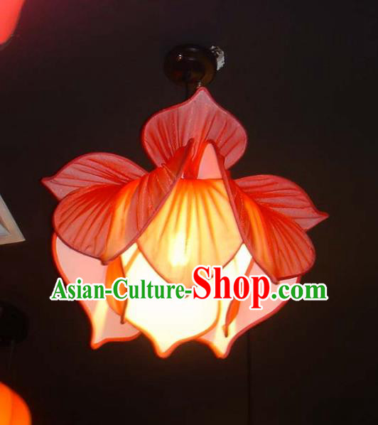 Traditional Chinese Ancient Palace Lantern Ceiling Lamp Red Lotus Lanern