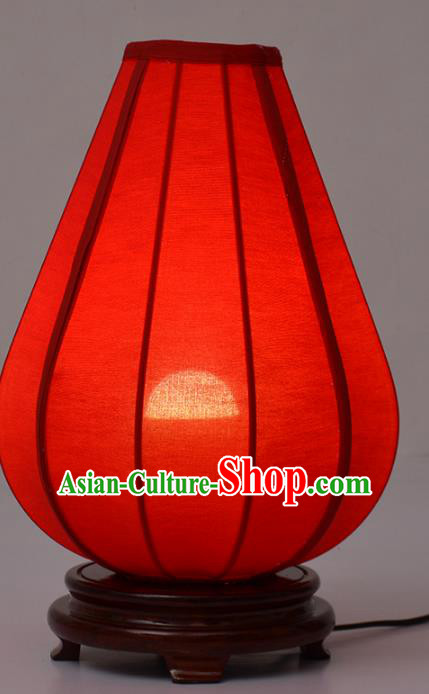 Handmade Traditional Chinese Lantern Red Desk Lamp Electric Palace Lantern
