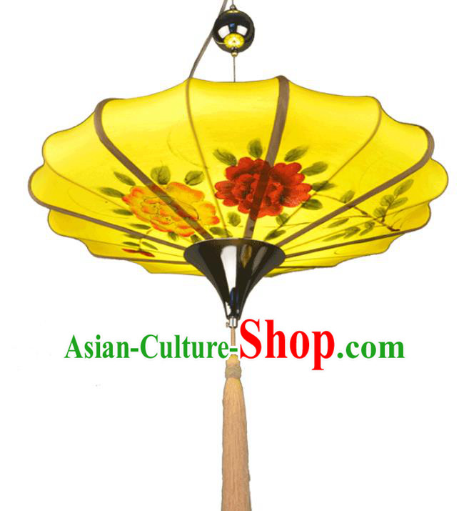 Traditional Chinese Ancient Palace Lantern Ceiling Lamp Hand Painting Peony Lanern