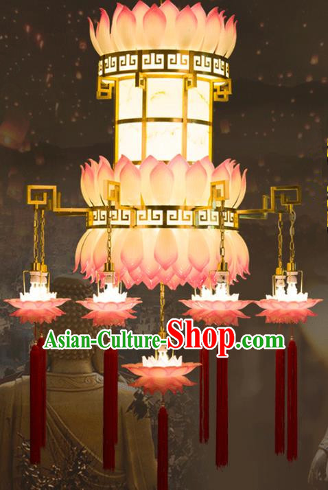 Traditional Chinese Ancient Palace Lantern Buddhist Lotus Ceiling Lamp Temple Brass Lanern