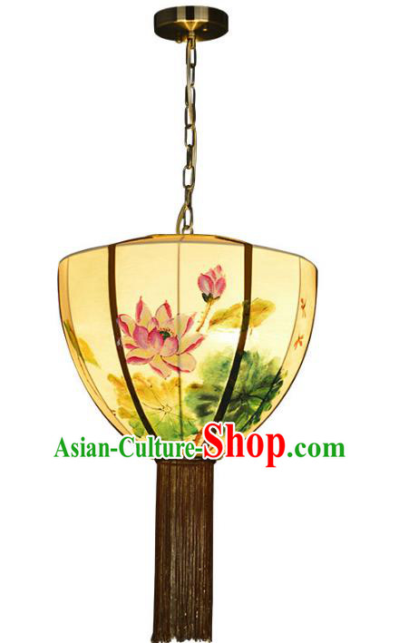 Traditional Chinese Palace Lantern Painting Lotus Ceiling Lamp Ancient Lanern
