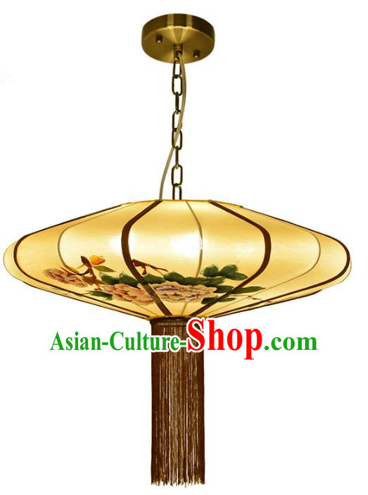 Traditional Chinese Palace Lantern Painting Peony Ceiling Lamp Ancient Lanern