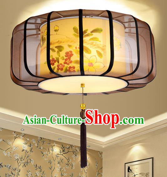 Traditional Chinese Palace Lantern Painting Sheepskin Ceiling Lamp Ancient Lanern