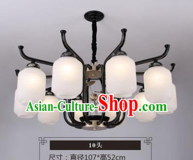 Asian China Traditional Handmade Lantern Ten-Pieces Ceiling Lamp Ancient Palace Lanern