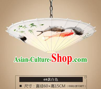 Asian China Traditional Handmade Lantern Printing Fishes Umbrella Ceiling Lamp Ancient Palace Lanern