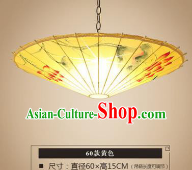 Asian China Traditional Handmade Lantern Printing Lotus Umbrella Ceiling Lamp Ancient Palace Lanern