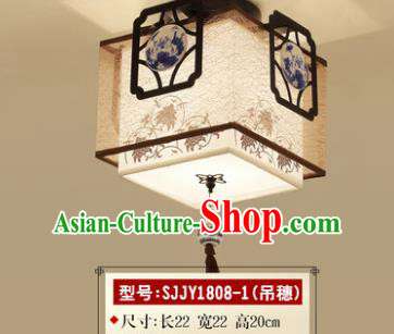 Asian China Traditional Handmade Lantern Blue and White Porcelain Ceiling Lamp Ancient Palace Lanern