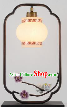 Traditional Asian Chinese Lantern China Ancient Electric Purple Flowers Desk Lamp Palace Lantern