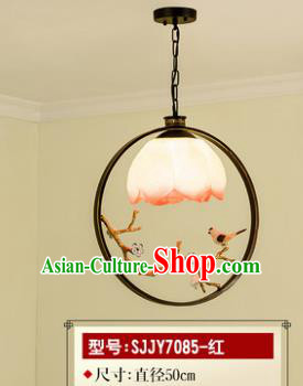 Asian China Traditional Handmade Lantern Red Flower Ceiling Lamp Ancient Palace Lanern