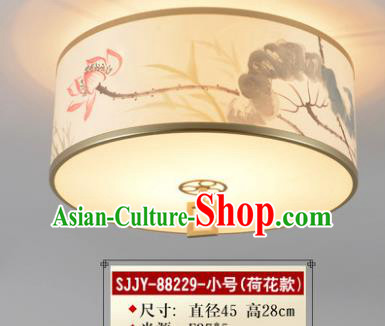 Asian China Traditional Handmade Lantern Ink Painting Lotus Ceiling Lamp Ancient Palace Lanern