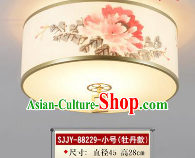 Asian China Traditional Handmade Lantern Ink Painting Peony Ceiling Lamp Ancient Palace Lanern