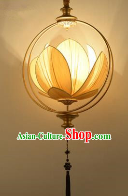 Asian China Traditional Handmade Lantern Yellow Lotus Ceiling Lamp Ancient Palace Lanern