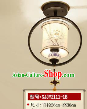Asian China Traditional Handmade Lantern Painting Lotus Ceiling Lamp Ancient Palace Lanern