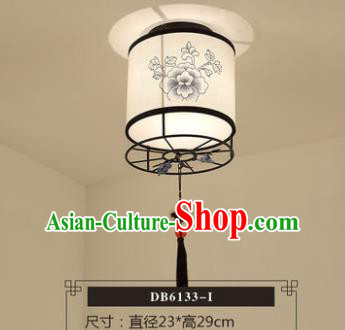 Traditional Chinese Handmade Lantern Classical Ink Painting Peony Ceiling Lamp Ancient Lanern