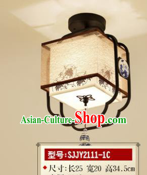 Asian China Traditional Handmade Lantern Painting Lotus Square Ceiling Lamp Ancient Palace Lanern