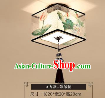 Traditional Chinese Handmade Lantern Classical Tassel Ceiling Lamp Ancient Painting Lotus Square Lanern