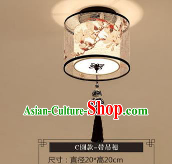 Traditional Chinese Handmade Lantern Classical Magnolia Ceiling Lamp Ancient Round Lanern