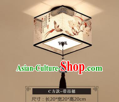 Traditional Chinese Handmade Lantern Classical Magnolia Birds Ceiling Lamp Ancient Lanern