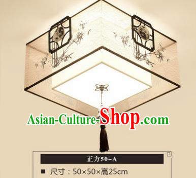 Traditional Chinese Handmade Lantern Classical Bamboo Square Ceiling Lamp Ancient Lanern
