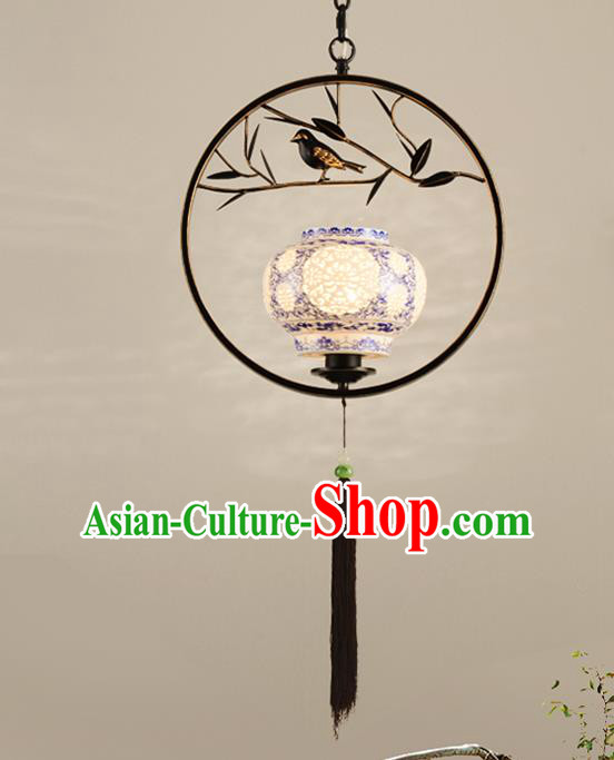 Traditional Chinese Handmade Lantern Classical Ceiling Lamp Ancient Black Frame Hanging Lanern