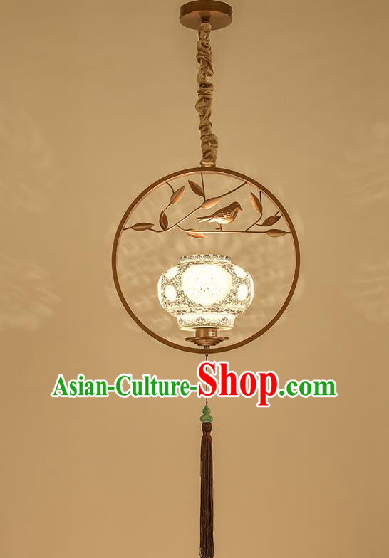 Traditional Chinese Handmade Lantern Classical Ceiling Lamp Ancient Golden Frame Hanging Lanern