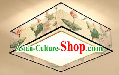 Traditional Chinese Handmade Printing Lotus Lantern Square Classical Lamp Ancient Palace Ceiling Lanern