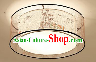 Chinese Traditional Handmade Printing Bamboo Round Lantern Classical Lamp Ancient Palace Ceiling Lanern
