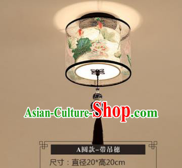 Traditional Chinese Handmade Lantern Classical Tassel Ceiling Lamp Ancient Painting Lotus Lanern
