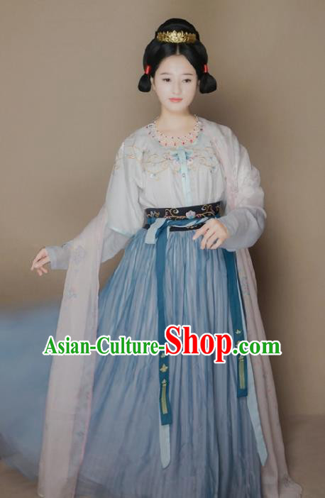 Traditional Chinese Tang Dynasty Princess Costume Ancient Embroidered Hanfu Dress for Women