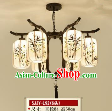 Asian China Traditional Handmade Lantern Printing Bamboo Ceiling Lamp Ancient Palace Lanern