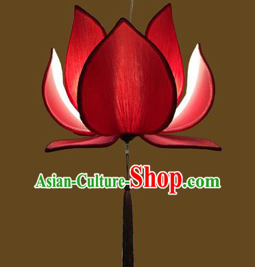 Asian China Traditional Handmade Lantern Temple Red Lotus Lamp Ceiling Lamp Ancient Palace Lanern