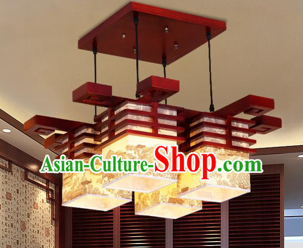 China Traditional Handmade Parchment Lantern Palace Wood Lanterns Ceiling Lamp Ancient Lanern