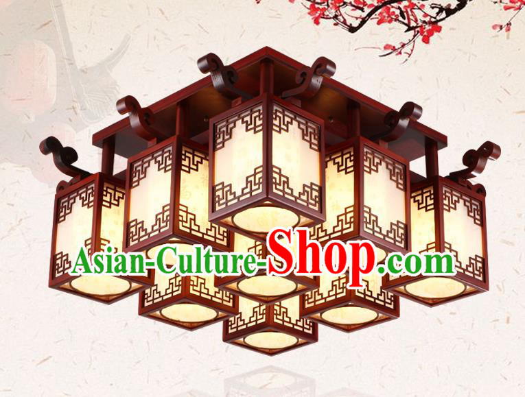 China Traditional Handmade Wood Lantern Nine-pieces Palace Lanterns Ceiling Lamp Ancient Lanern