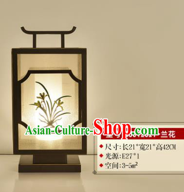 Traditional Asian Chinese Lantern China Ancient Electric Orchid Desk Lamp Palace Lantern