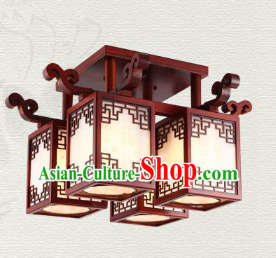 China Traditional Handmade Wood Lantern Four-pieces Palace Lanterns Ceiling Lamp Ancient Lanern