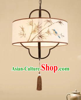 Traditional China Handmade Printing Bamboo Birds Lantern Ancient Lanterns Palace Ceiling Lamp