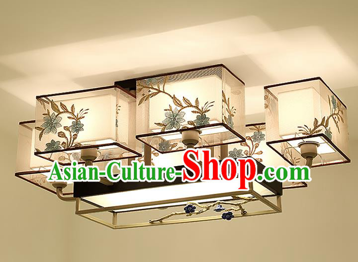 Traditional China Handmade Embroidered Lantern Ancient Six-pieces Lanterns Palace Ceiling Lamp