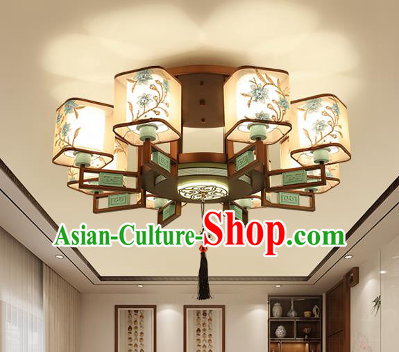 Traditional China Handmade Lantern Ancient Eight-pieces Round Lanterns Palace Ceiling Lamp