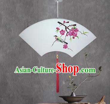 Traditional China Handmade Lantern Ancient Printing Peach Blossom Hanging Lanterns Palace Fan-shape Ceiling Lamp