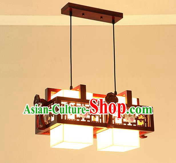 China Traditional Handmade Ancient Two-pieces Wood Hanging Lantern Palace Lanterns Ceiling Lamp
