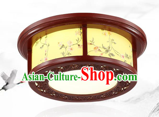 China Traditional Handmade Ancient Wood Lantern Palace Lanterns Printing Flowers Ceiling Lamp