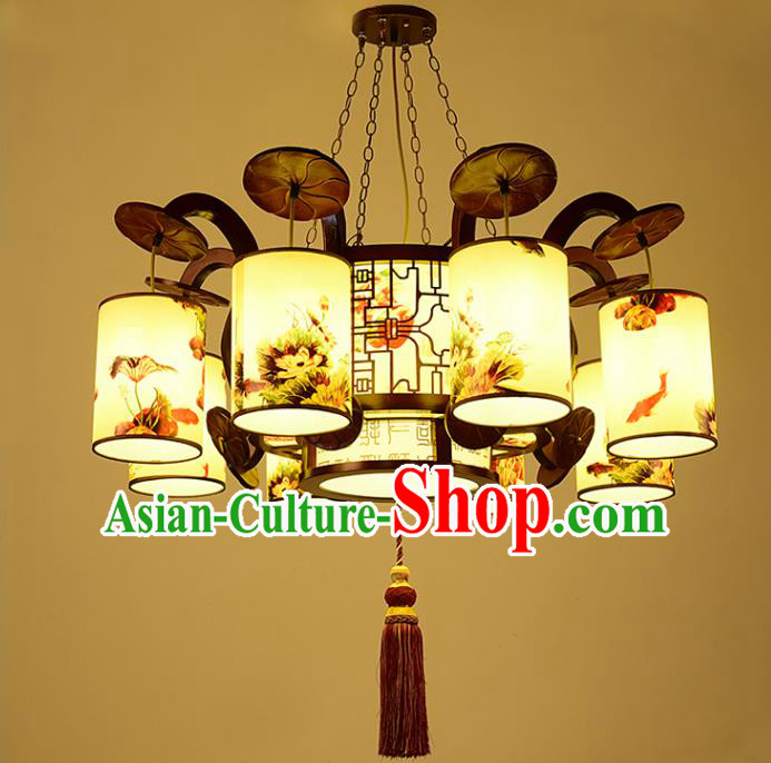 China Traditional Handmade Ancient Eight-pieces Lantern Palace Wood Hanging Lanterns Ceiling Lamp