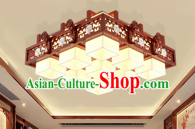 China Traditional Handmade Lantern Ancient Nine-pieces Wood Lanterns Palace Ceiling Lamp