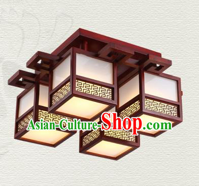 China Traditional Handmade Ancient Wood Lantern Four-pieces Palace Lanterns Ceiling Lamp