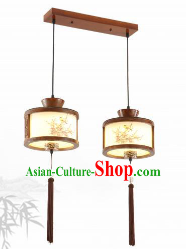 China Traditional Handmade Lantern Ancient Hanging Two-pieces Lanterns Palace Ceiling Lamp