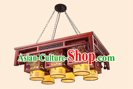 Traditional China Handmade Six-pieces Lantern Ancient Wood Lanterns Palace Ceiling Lamp