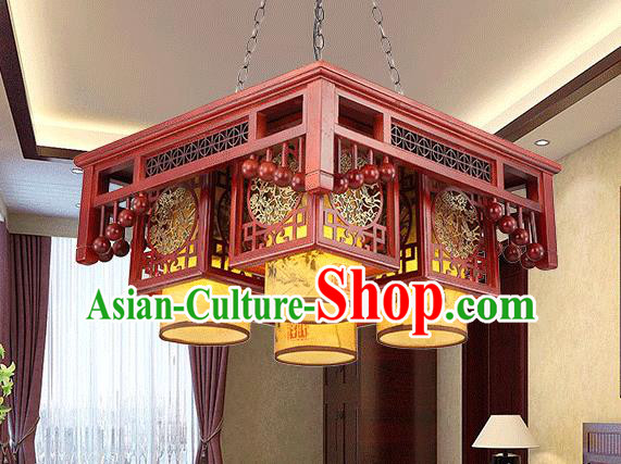 Traditional China Handmade Four-pieces Lantern Ancient Wood Lanterns Palace Ceiling Lamp
